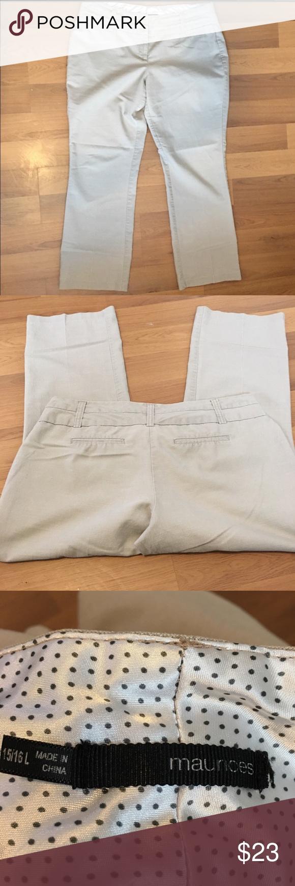 e6303c91 Maurice's khaki bootcut pants SZ 15/16L Maurice's EUC Tan khaki color Size  15/16 long Faux pockets Maurices Pants Boot Cut & Flare