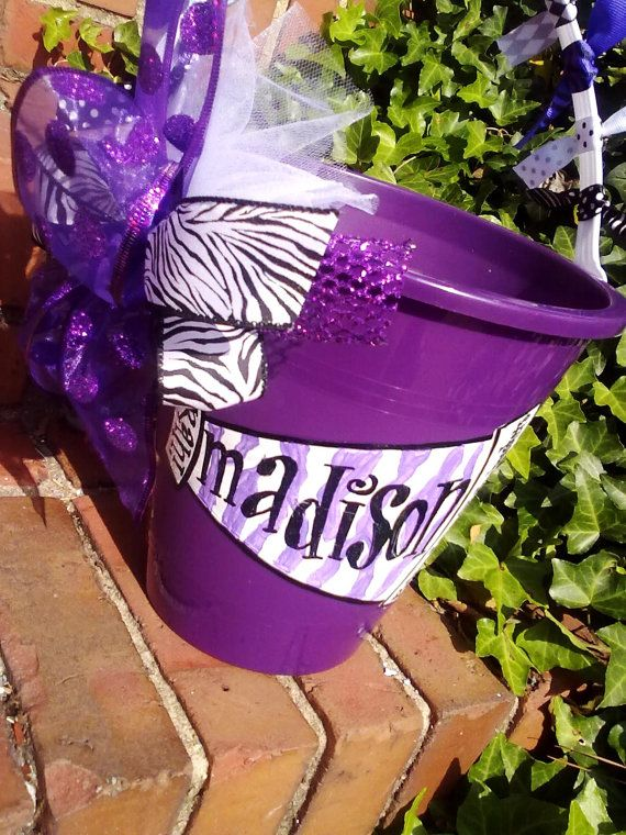 Cheer gooo team easter basket bucket handpainted by for Cheerleading arts and crafts