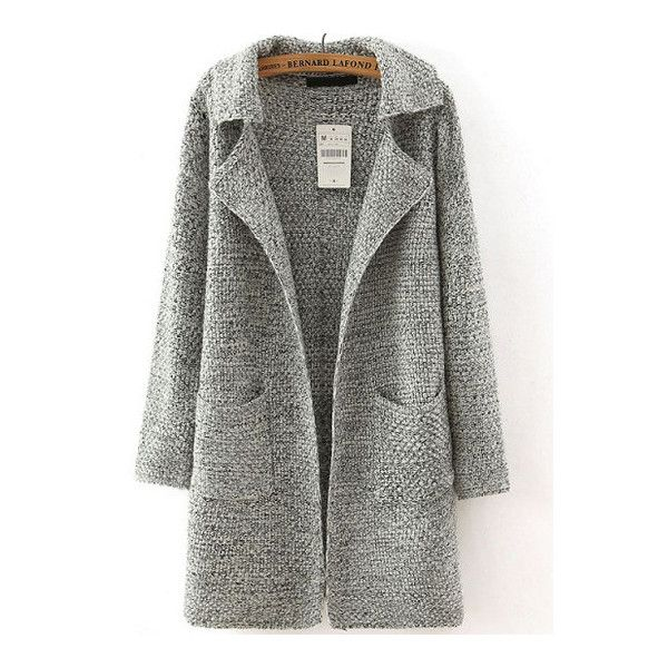 SheIn(sheinside) Grey Lapel Long Sleeve Pockets Sweater Coat ( 26) ❤ liked  on Polyvore featuring outerwear 2cde9aacb