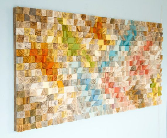 Wood Wall Art, geometric wood art, SAle, mosaic, mid century colours ...