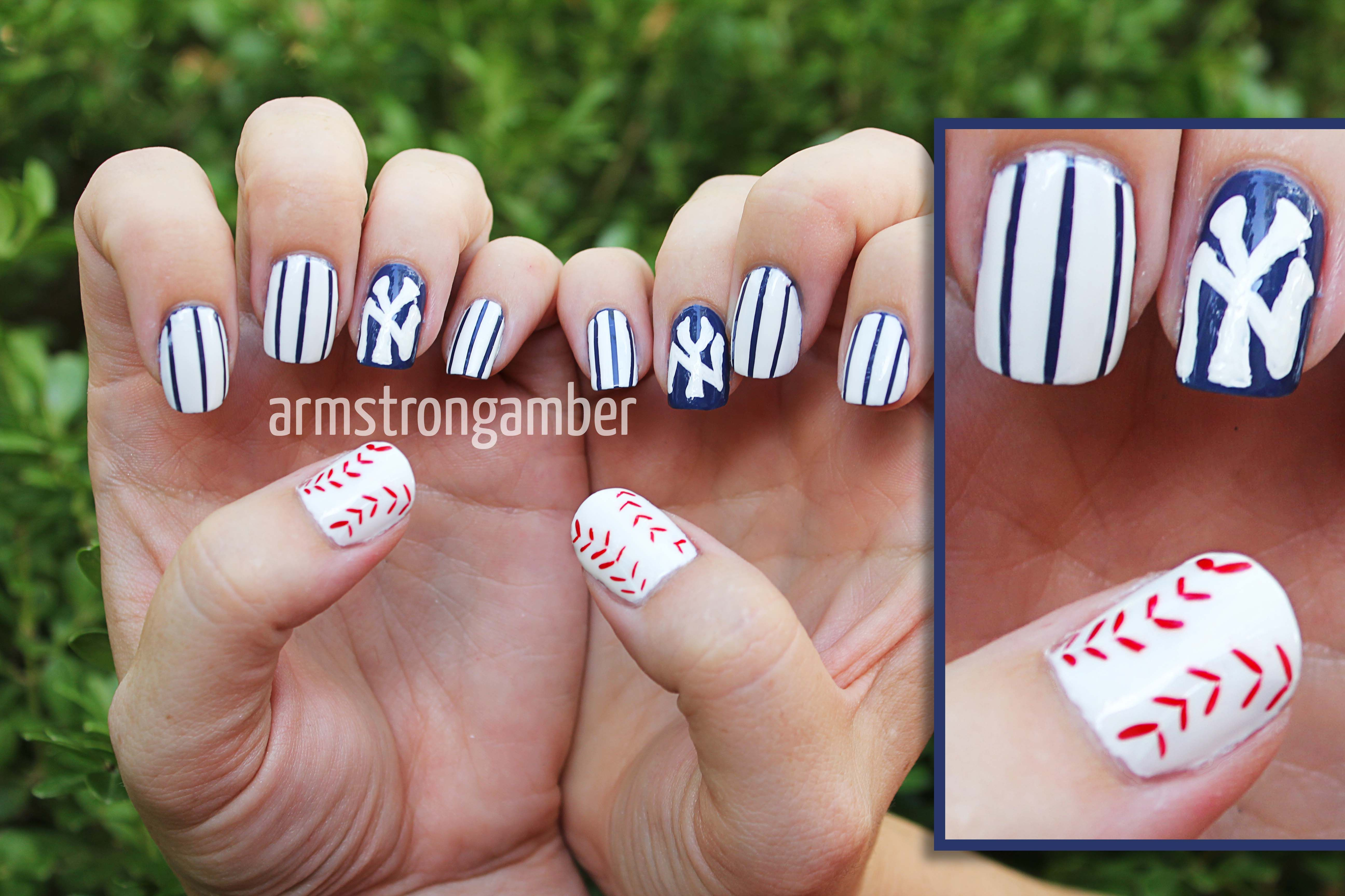 New York Yankees Nail art freehand by Amber Armstrong