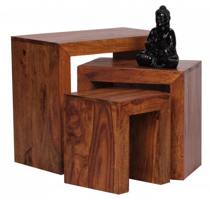 WOHNLING Sheesham 3 teiliger Satztisch Massiv Beistelltisch Massivholz Jetzt bestellen unter ...