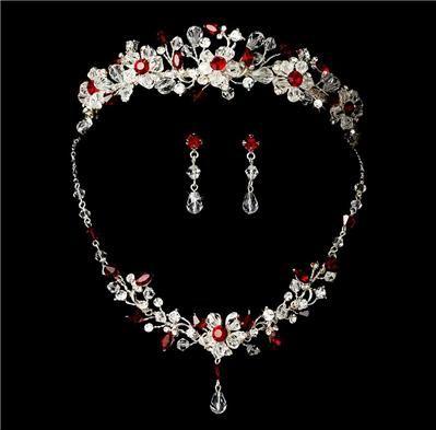 red bridal tiaras Crystal Apple Red Ruby Bridal Wedding Tiara