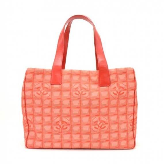 56ce40ec4e4 Chanel Travel Line Red Jacquard Nylon Medium Tote Bag CG115 ...