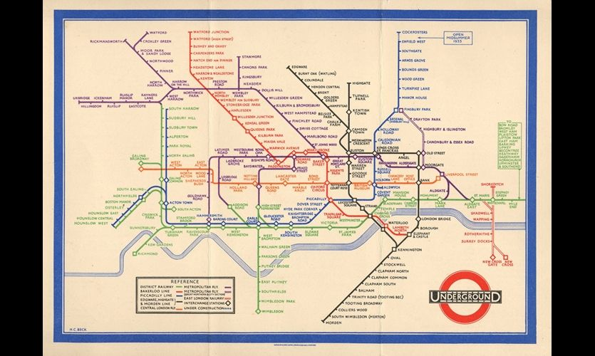 London Underground Map 1933 Harry Beck s map reinterpreted below