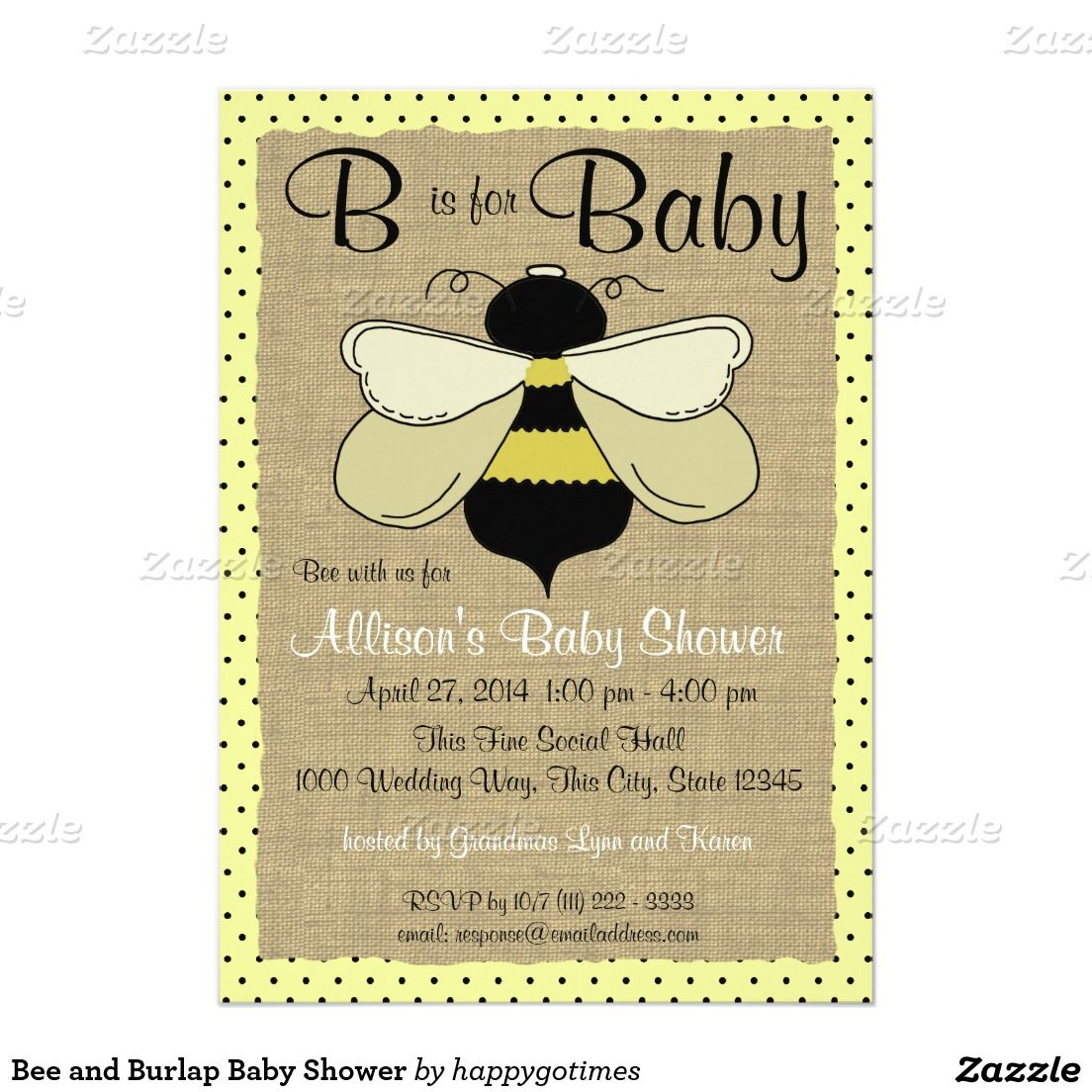 Bee and Burlap Baby Shower Invitation | Pinterest | Burlap baby ...