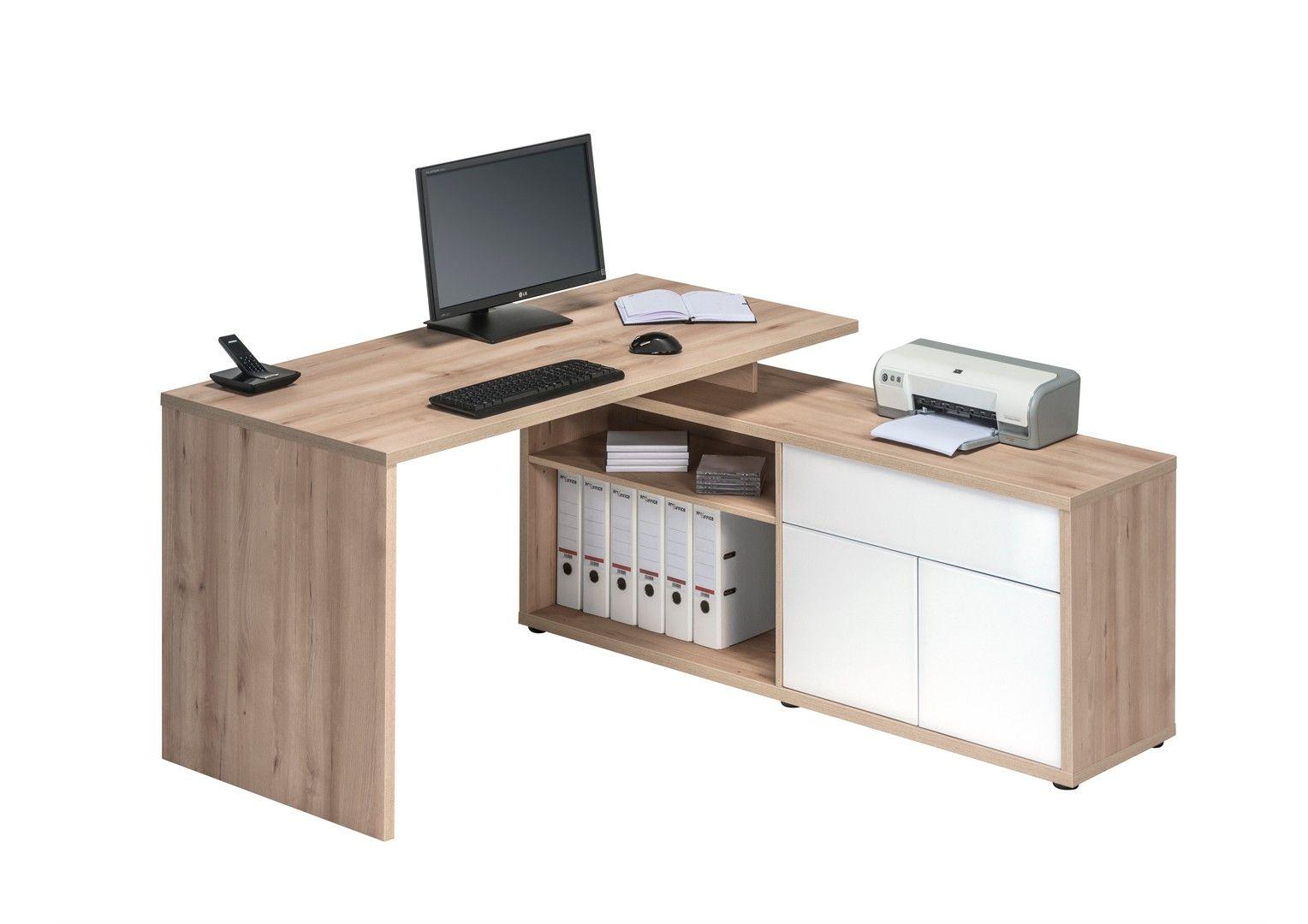 Finlandek Bureau D Angle TyÖ Contemporain Décor Chêne Clair Et Blanc Mat L 140 Cm Desks Workplace And Bureaus