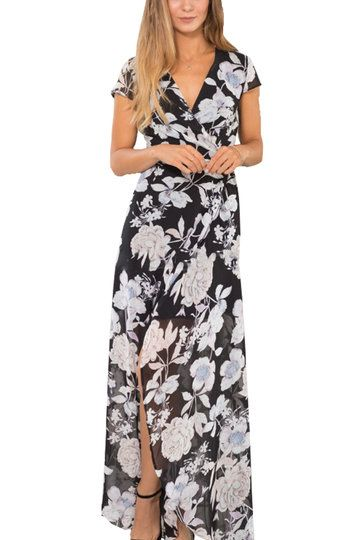 e5c419c006d52a Floral Print Wrap front Self-tie Maxi Dress in Black from mobile - US$25.95  -YOINS