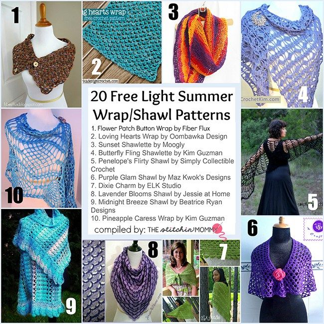 20 Free Light Summer Wrap and Shawl Patterns | Pinterest