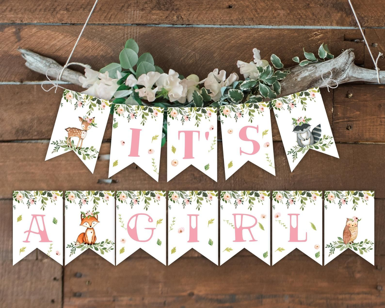 Banner it's a Girl Woodland Baby Shower Woodland animals ...