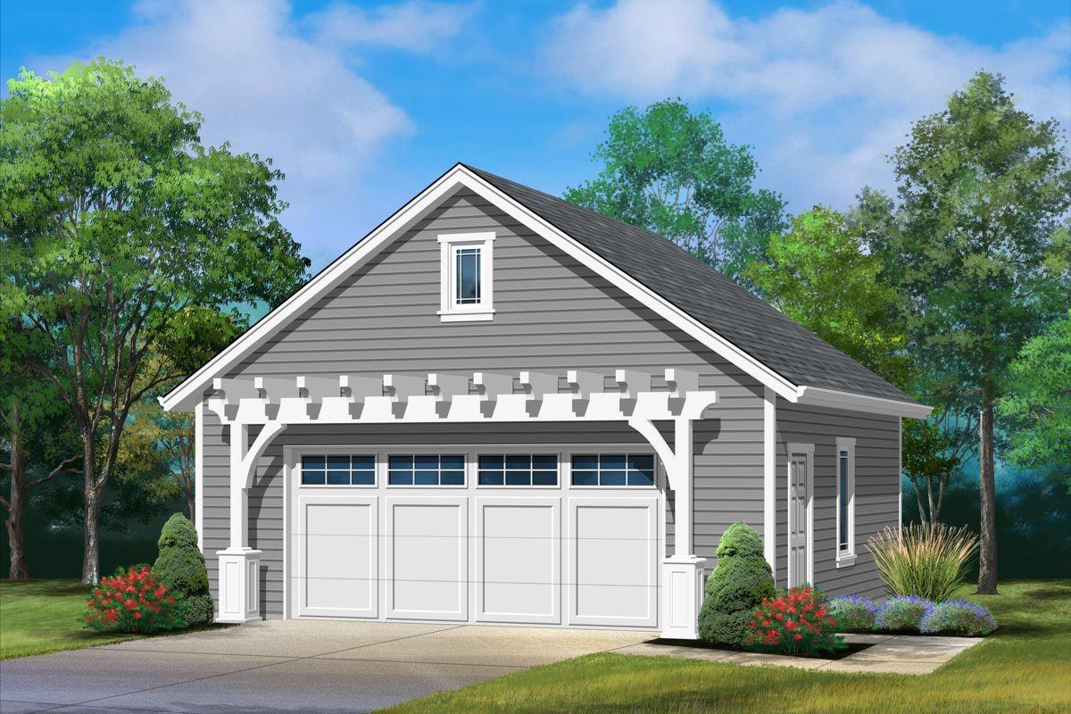 Plan 22136sl Detached 2 Car Garage With Pergola In 2020 Garage Plans Detached Detached Garage Designs Detached Garage Cost