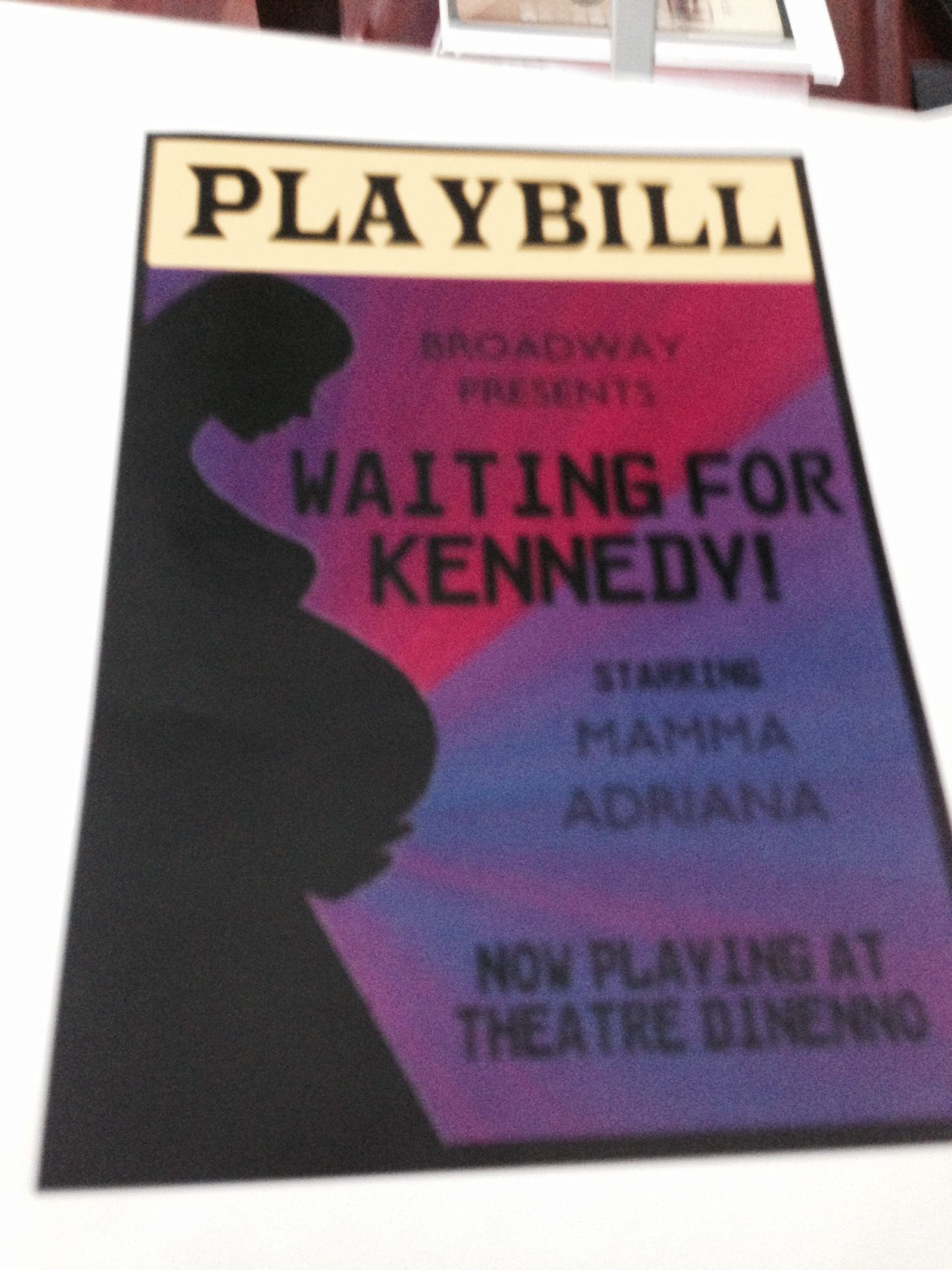 My awesome friends through me a Broadway baby shower. They came up with this awesome Playbill to hand out to guests. The inside had each Act and what would happen. Act I - Meet and Greet and the Eating. Act II - Open Presents and Photo Booth, etc! Such a clever idea! Act III - Waiting for Kennedy!
