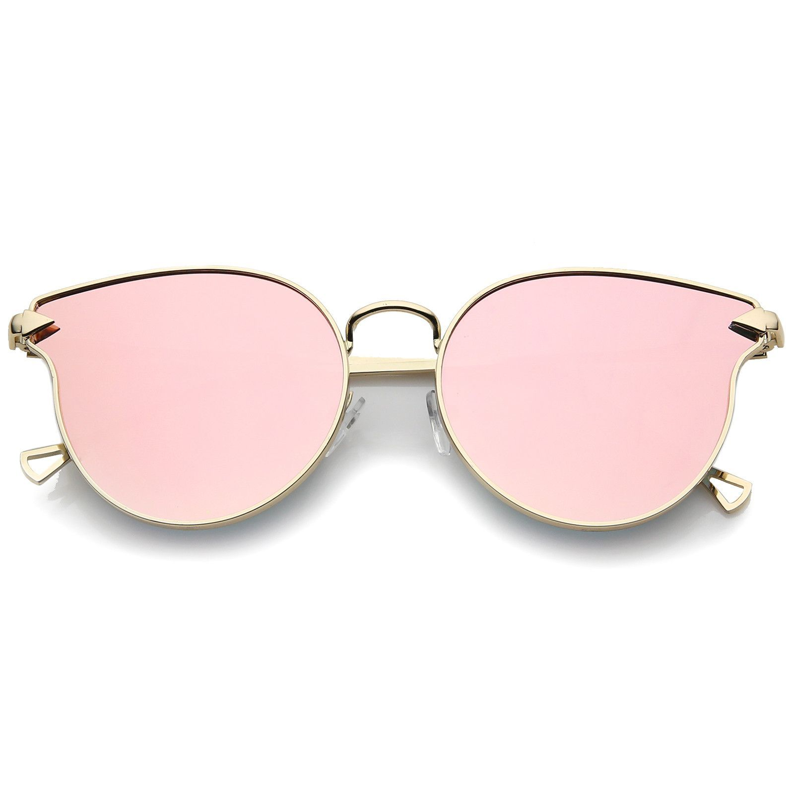 LE Arrow Cateye Sunglasses Women Silver Reflective Mirror Rimless Frame Glasses