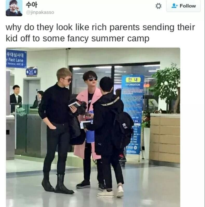 Why Do They Look Like Rich Parents Sending Their Kid Off To Some Fancy Summer Camp Bts Family Kpop Memes Bts Bts Memes Bts Memes Hilarious