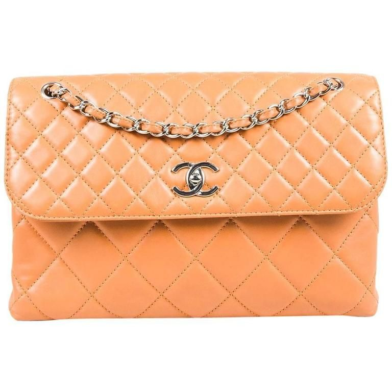 "Chanel Tan Lambskin Leather Quilted ""In The Business"" Chain Link Strap Bag"