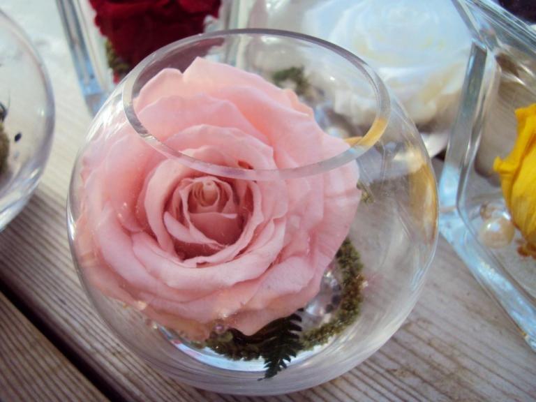 vase boule rose eternelle couleur au choix rose naturelle stabilis e fleurs stabilis es. Black Bedroom Furniture Sets. Home Design Ideas