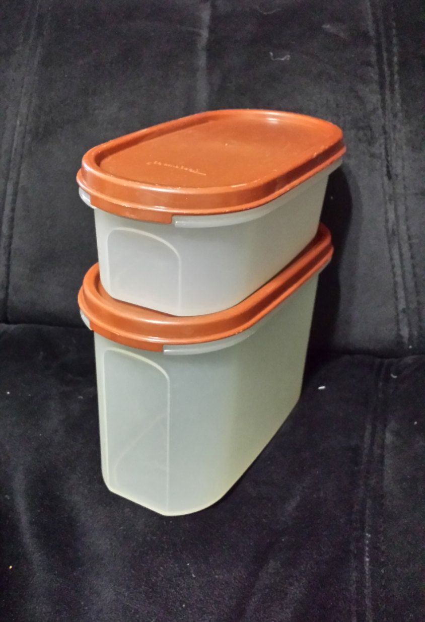Vintage Tupperware Oval Modular Mates Storage Containers with Brown