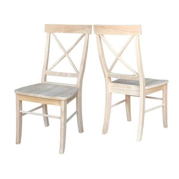 International Concepts Unfinished Wood X Back Dining Chair Set Of