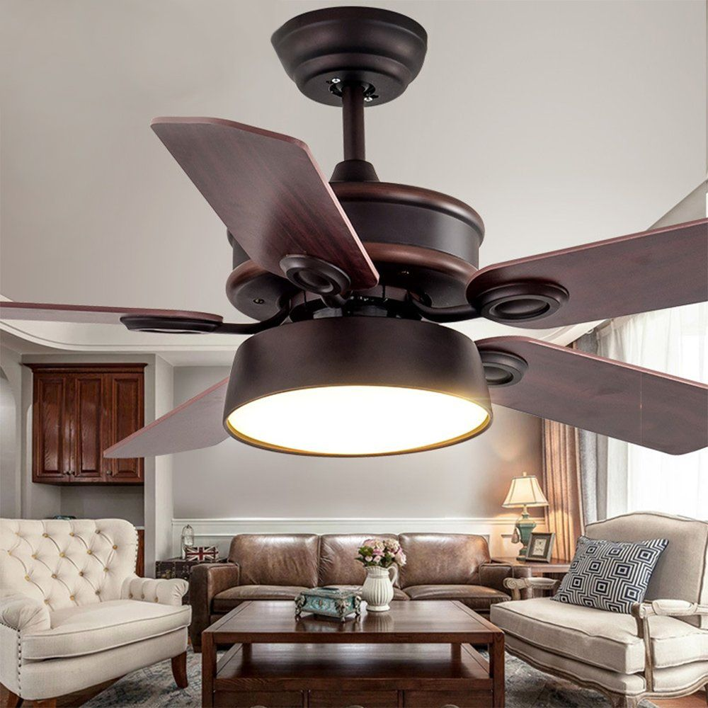 Andersonlight Reversible Ceiling Fan 52 Inches 5 Brazilian Cherry Harvest Blades With Dimmable Led Lights White Dimmable Led Lights Warm Light Ceiling Fan