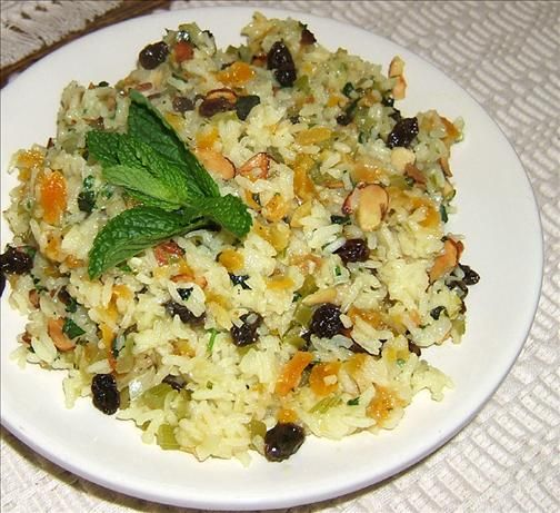 Savory Rice Pilaf With Lavender & Apricots from Food.com: I got this recipe from the herb gardeners at Festival Hill in Round Top, Texas. It is the most beautiful pilaf and has a lovely taste. Just don't tell finicky eaters what's in it.