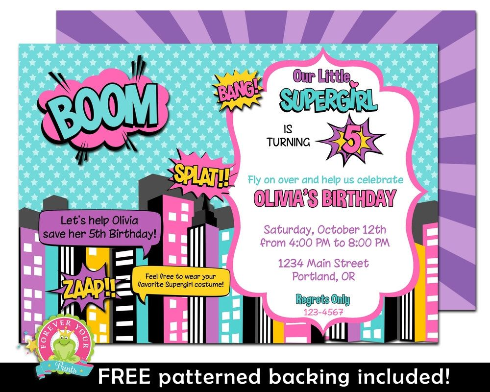 Girl Superhero Party Invitations Rome Fontanacountryinn Com