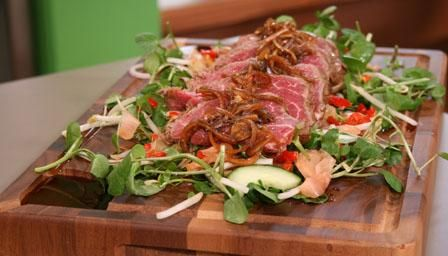Beef tataki   This is amazing. I add chilli to the beef marinade aswell for an extra kick