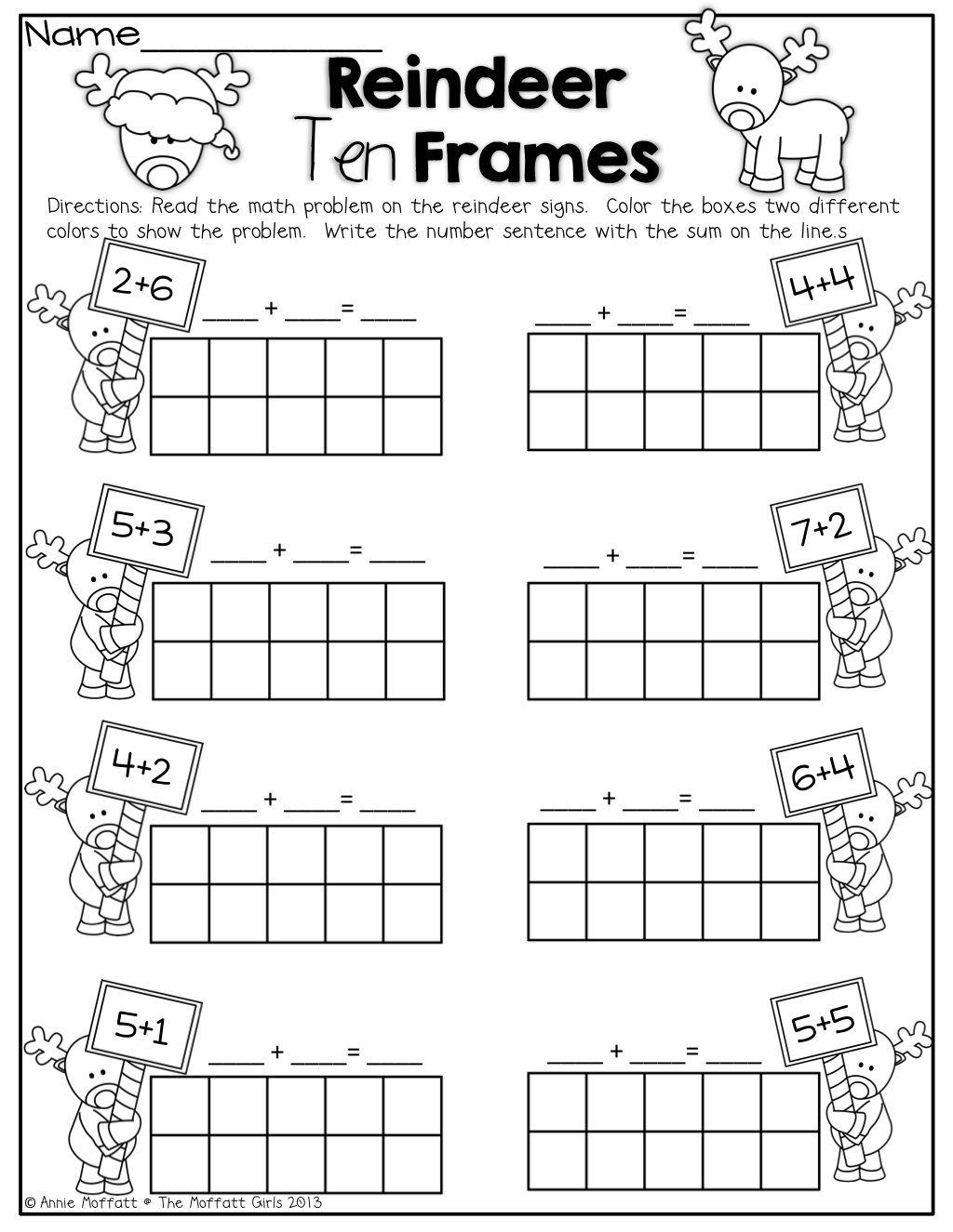 Reindeer Ten Frames! Simple math problems with ten frames ...