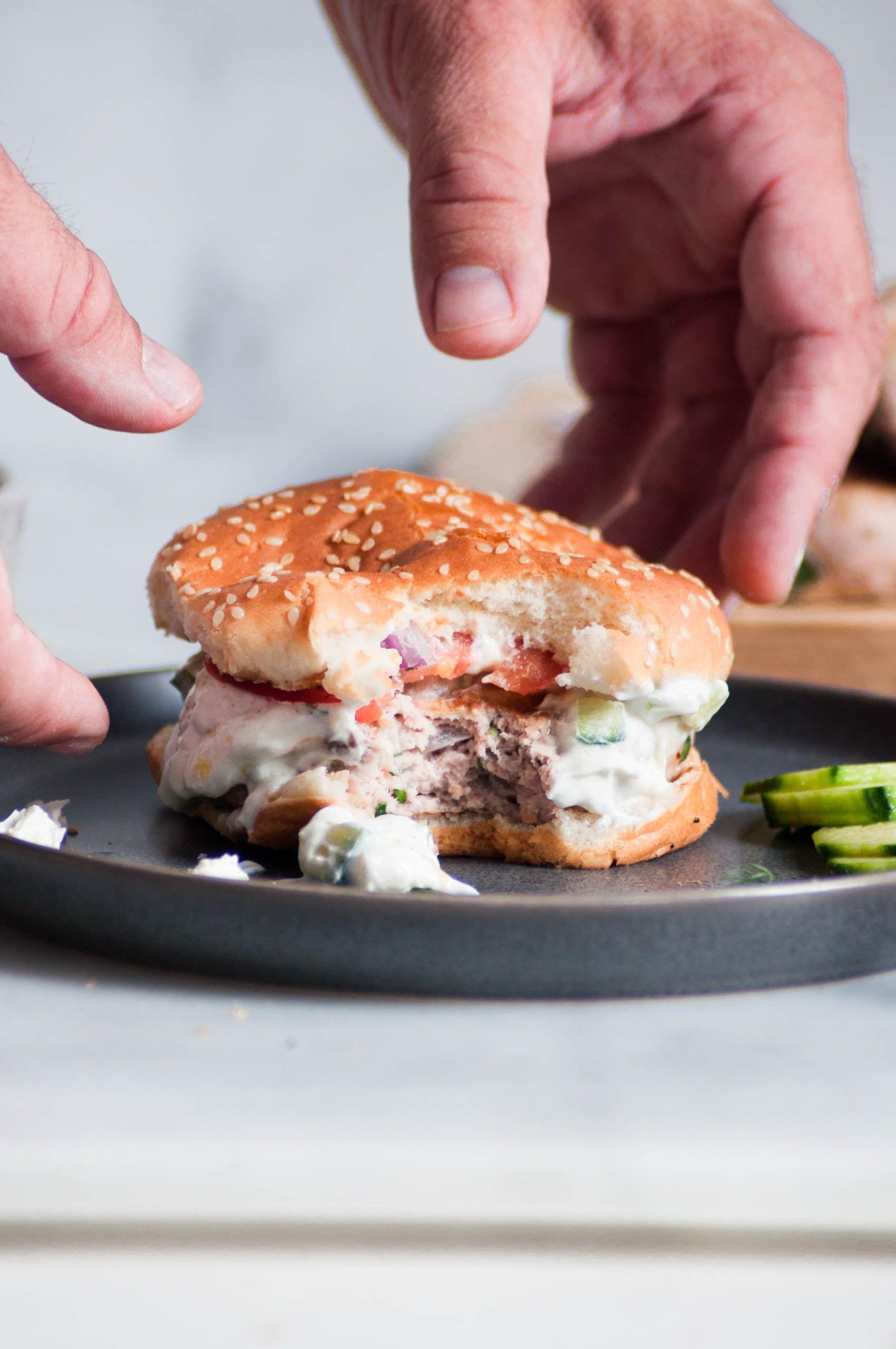 Healthy Greek Turkey Burgers With Tzatziki Recipe Greek Turkey Burgers Healthy Greek Turkey Burgers Healthy