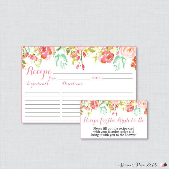 pink floral bridal shower recipe cards printable flower bridal shower recipe card and invitation insert pink and gold recipe cards 0004