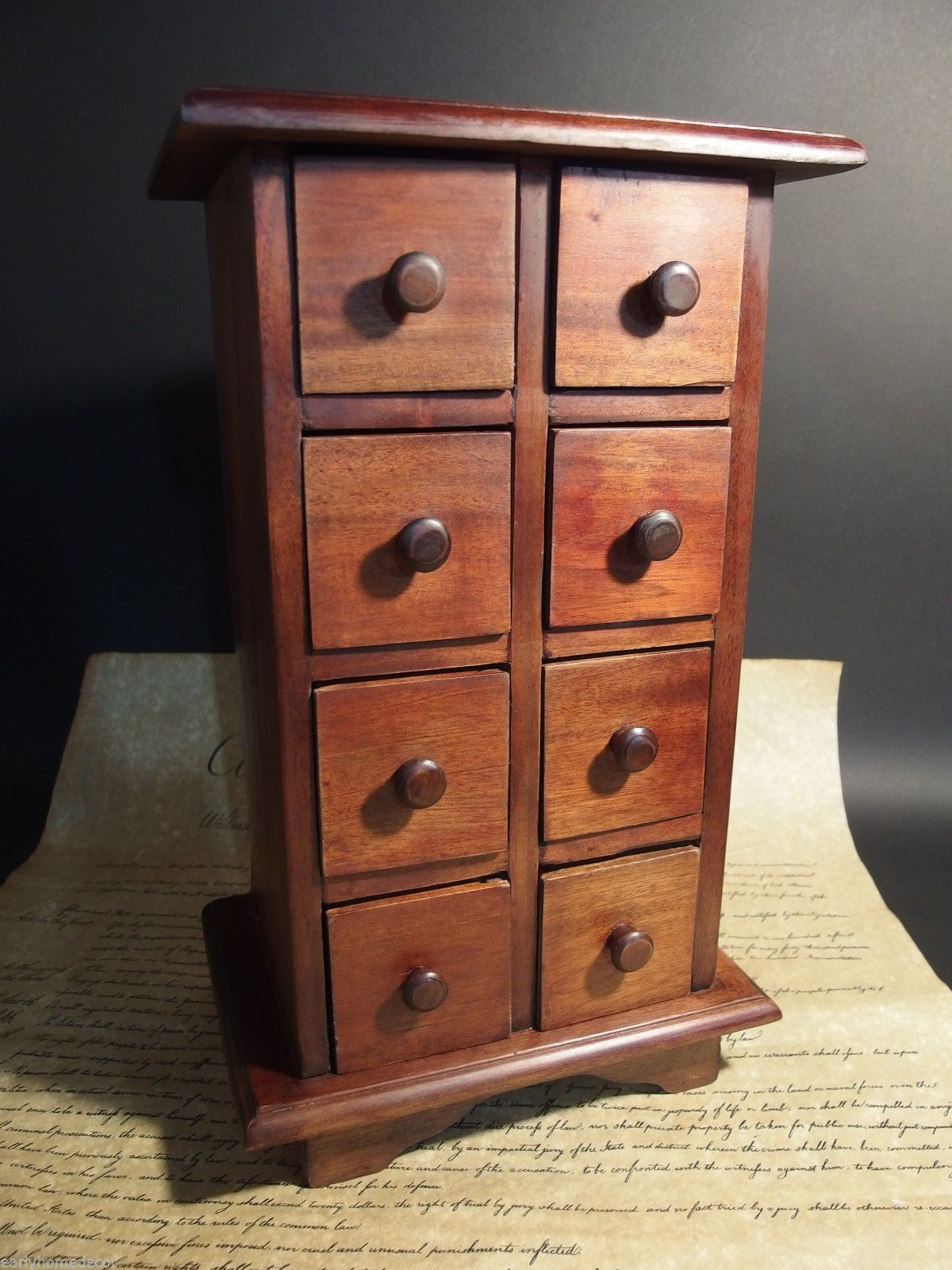 Primitive Antique Style Wood Apothecary E Chest Cabinet 8 Drawers Ebay
