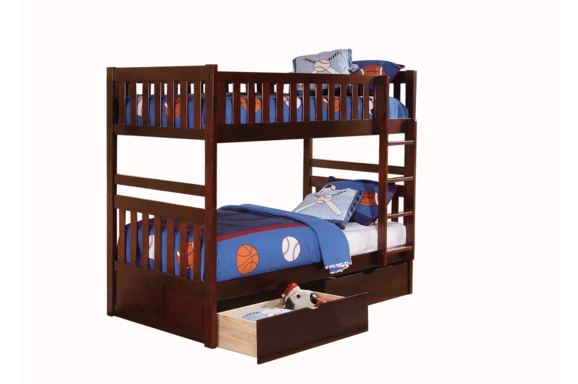 Dark Cherry Wood Kids Twintwin Bunk Bed