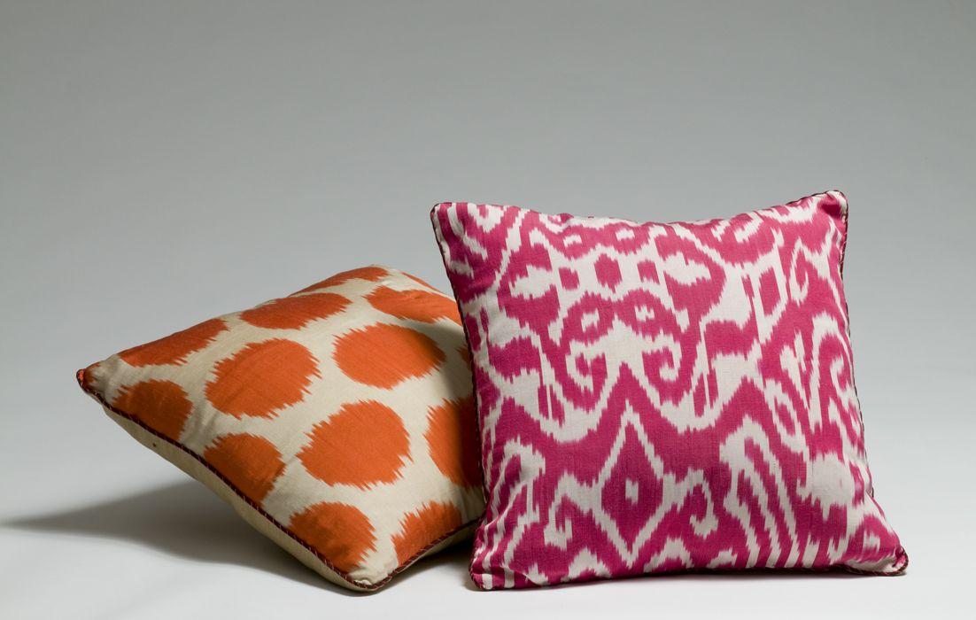 Madeline Weinrib Pink Orange Ikat Pillows Pillows Ikat