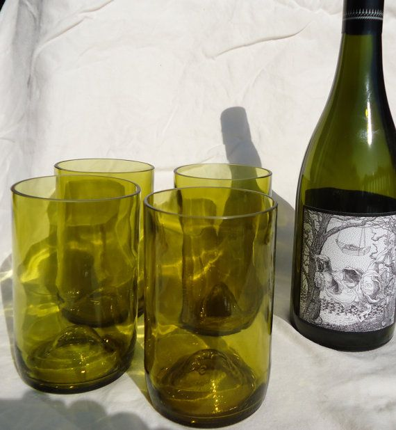 Upcycled Wine Bottle Glasses made from by ConversationGlass, $30.00