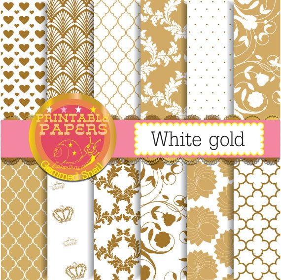 Gold Digital Paper Gold Scrapbook Paper White Gold Background 12