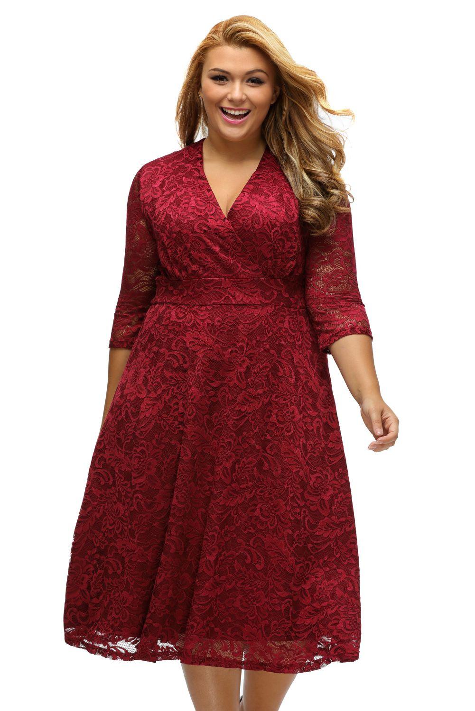 Plus size surplice lace dress
