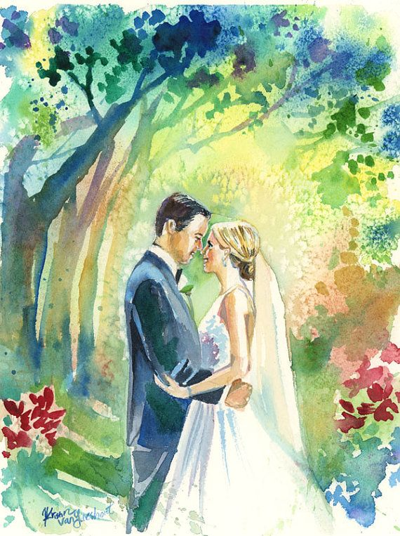 One Year Paper Anniversary Wedding Portrait Watercolor Painting
