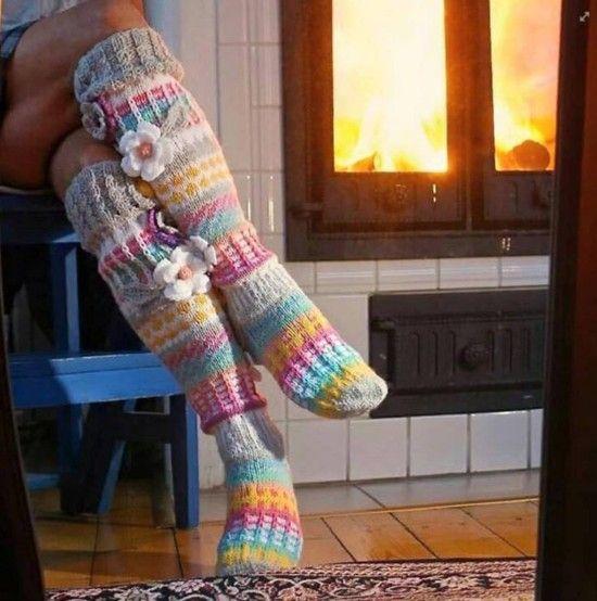 Damen Winter stricken über Knie Lange Stiefel Warm Socken Strümpfe Stocking FL