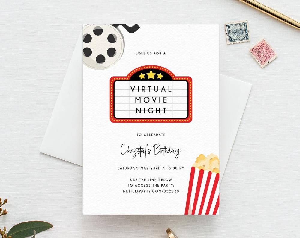 Virtual Movie Night Invitation Template Birthday Movie Party Invite Social Distancing Digital File Instant Download Templett Movie Night Invitations Movie Night Invitation Template