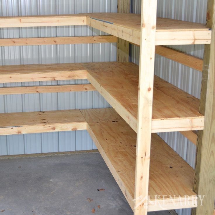 Diy Corner Shelves For Garage Or Pole Barn Storage Diy Corner Shelf Garage Storage Shelves Barn Storage