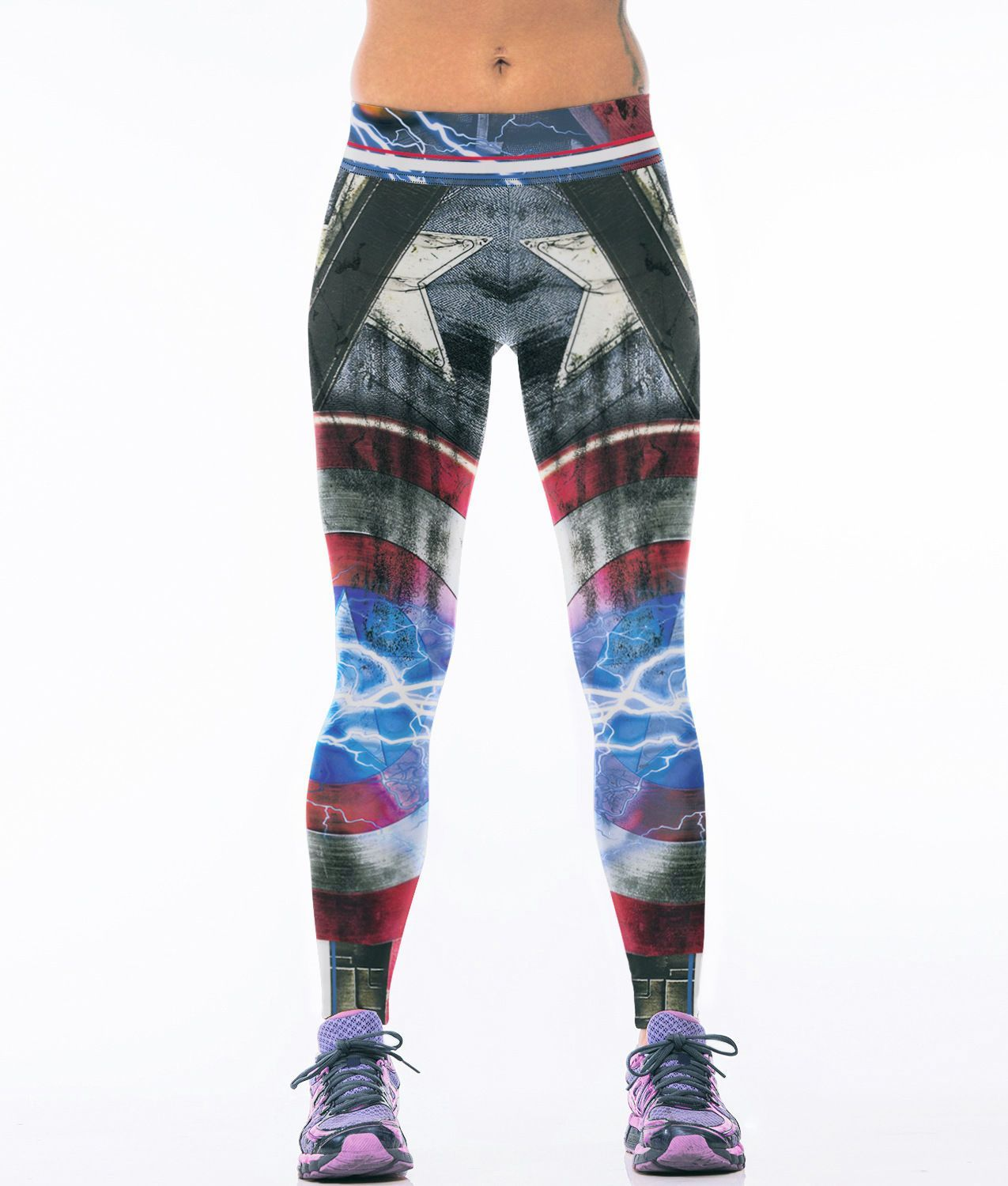 183bf2185aa21 Women Marvel Hero Captain America Sports Fitness Pants Stretch Gym Yoga  Leggings