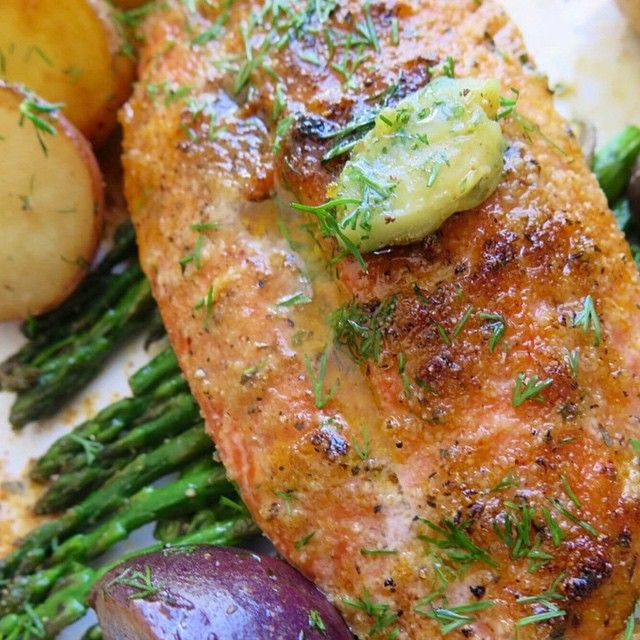"""My @flavorgod Wild Caught Salmon over some Asparagus and Tri-colored Potatoes. So easy! I rubbed the salmon with ghee butter ( @omgheebutter ) and…"""