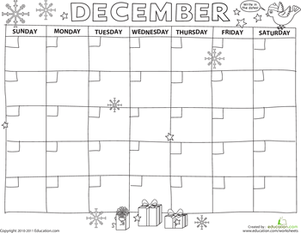 Create A Calendar December  Worksheets Seasons Worksheets And