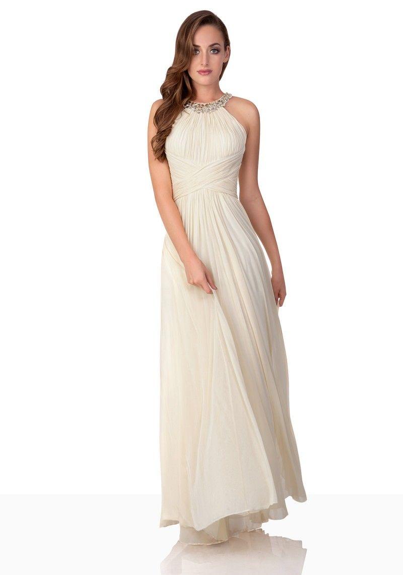 Schulterloses, bodenlanges Abendkleid mit Neckholder Pastell Gelb ...