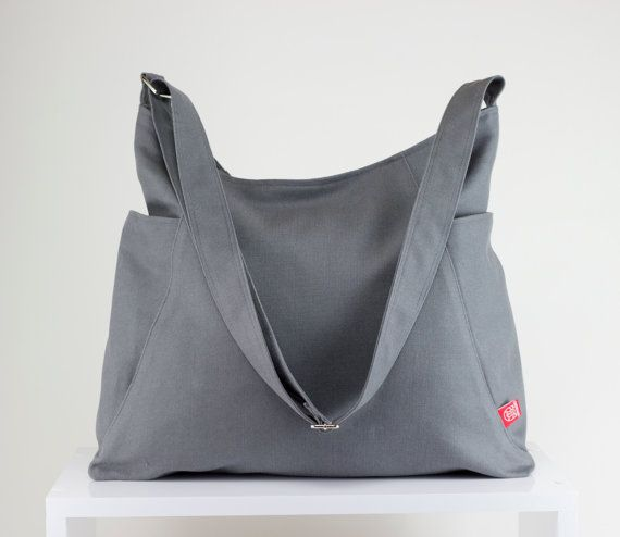 Light Gray Hobo Bag Zipper Closure Two Big Pocket Extra Large Bag ...