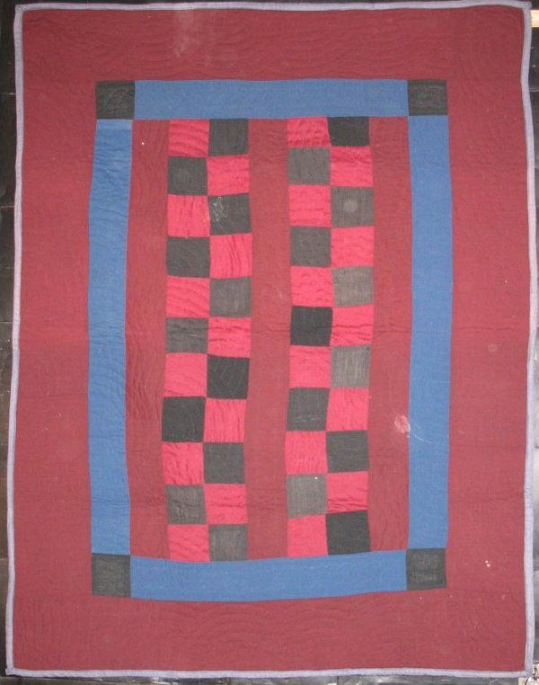 Amish Four-Patch Bars Antique CRIB QUILT, c. early 20th c, wool ... : laura fisher quilts - Adamdwight.com