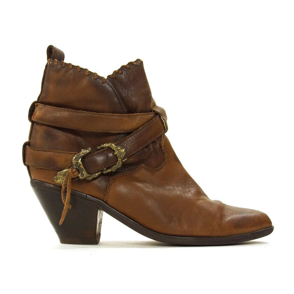 d63489376b636 90s Zodiac Ankle Boots / Vintage 1990s Brown Leather Western Buckle ...