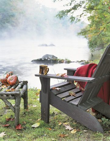 """The Thinking Chair. Oddly, that is what I call my own nearly identical """"chair with a view"""" but this is at the Connecticut home of children's book author Mark Kimball Moulton."""