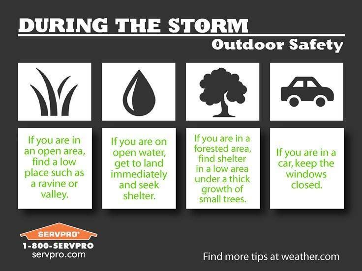 Follow These Tips To Stay Safe If You Re Caught Outside During A Storm Servpro Safetytip Wsnc Preparedness Pinterest