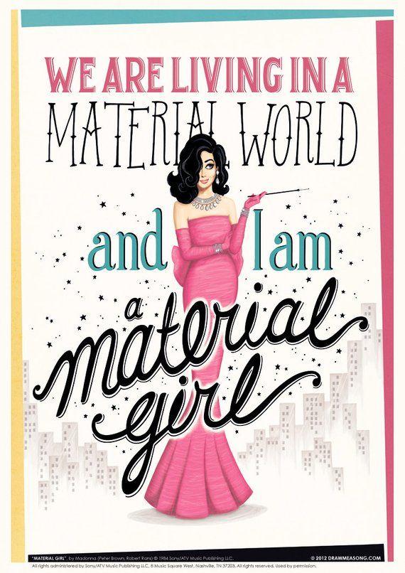 Material Girl Music Poster, Vintage Typography Lyrics Art Print