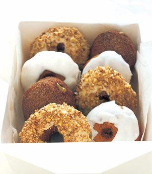 Pumpkin Doughnuts with Powdered Sugar Glaze and Spiced Sugar Doughnut Holes